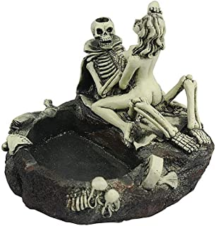 LLAMEVOL Cigar Ashtray Halloween Skull Sexy Man Ashtray Large Cigarette Ashtray Stand Use as Outdoor Indoor Cool Resin Decoration Gift for Father Boyfriend Lady Girl Women