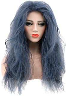 Karlery Dark Blue Long Curly Fluffy Wig Halloween Cosplay Witch Wig Costume Party Wig