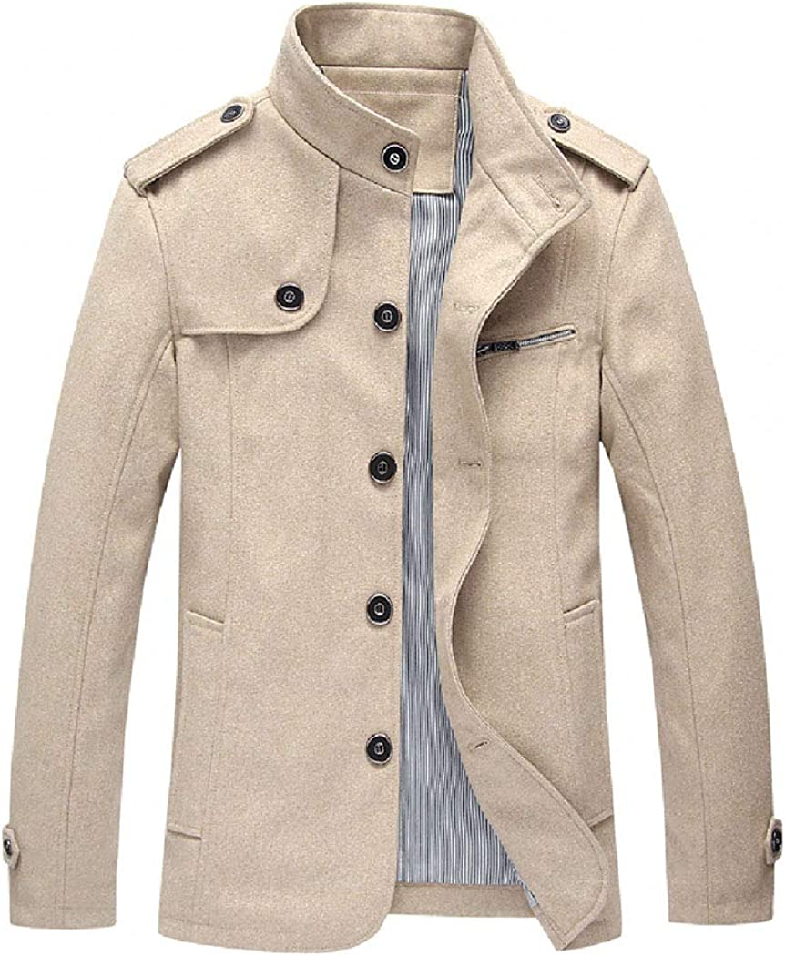 Modern Fantasy Men's British Classic Jacket Wool Style Stand Col