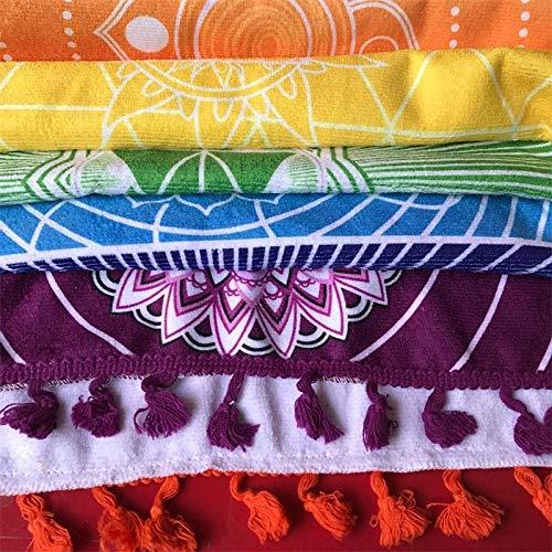Tela de Microfibra de Material Bohemio Indio Mandala Manta 7 Chakra Arco Iris a Rayas Tapiz Toalla de Playa Yoga Mat Multicolor, alfombras Colcha Toalla de baño, Multicolor, 100x75cm