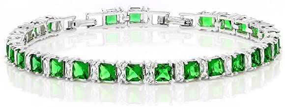 Gem Stone King Stunning Princess Cut Green Color Cubic Zirconias CZ Tennis Bracelet 7 Inch+1 Inch Extender