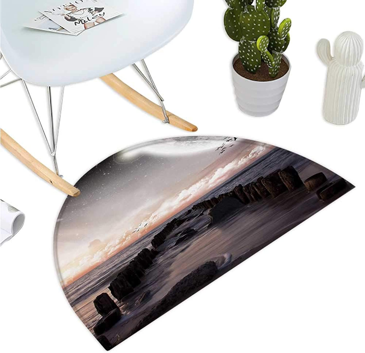 Space Semicircular Cushion Moon Fantasy Planet Beach with Old Pier with Sea Waves Fiction Eclipse Sky Landscape Entry Door Mat H 51.1  xD 76.7  Pink bluee