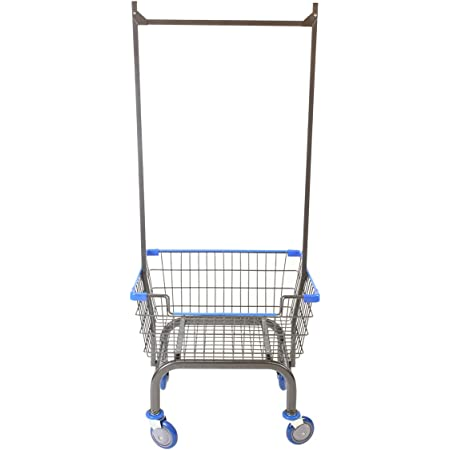 CART&SUPPLY Coin Laundry Cart, Laundry Cart with Double Pole Rack [Metal Gray]