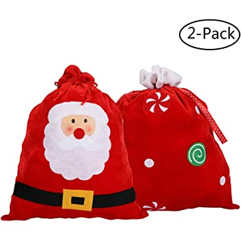 KEFAN 3 Pack Christmas Bags Christmas Candy Bags Fabric Santa Claus Stocking with Cord Drawstring Gift Sack Christmas Tree Decoration