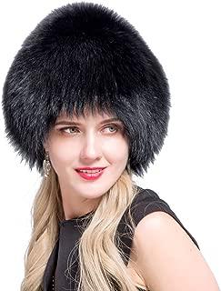 JERYAFUR Women's Winter hat Natural Fox Fur Grass hat Knit Liner Fox Fur hat QHL