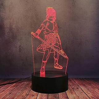 Anime Sasuke espada 3D LED luz de noche Japan Comic Naruto lámpara de escritorio USB Touch Sensor remoto Base Acrílico de decoración de la habitación del hogar Amigo regalo de cumpleaños Manga