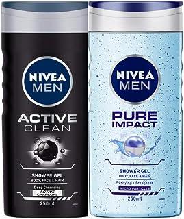 NIVEA Men Shower Gel, Active Clean Body Wash, Men, 250ml And NIVEA Men Shower Gel, Pure Impact Body Wash, 250ml