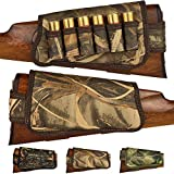 BronzeDog Nylon Shotgun Shell Holder Adjustable Buttstock Pouch Padded Rifle Cheek Rest Hunting Accessories 12 16 Gauge Right Left Handed (Brown Cane Camo Left)