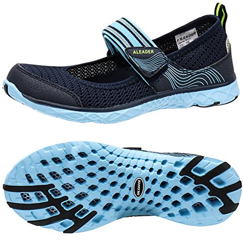 ALEADER Womens Water Shoes Mary Jane Comfort Walking Sneaker Navy/Blue 7 D(M) US