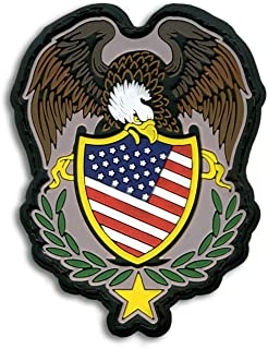 Bastion Tactical Combat Badge PVC Morale Patch Hook and Loop Patch - Eagle Color