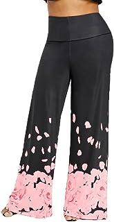 9a986fc3fe39 UOFOCO Womens Wide Leg Trousers Fashion Loose Pants Casual Plus Size Rose  Petal Printed