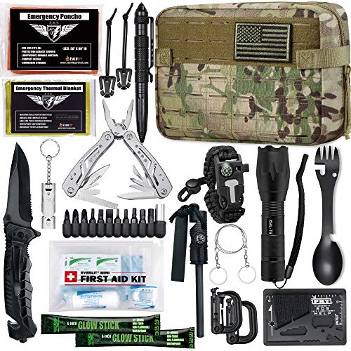 EVERLIT Emergency Survival Kit Gen II Gear Tool First Aid Kit SOS Emergency Tactical Flashlight Blanket Bracelets Compass with Molle Pouch for Camping Adventures (Multicam)