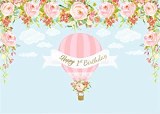 Leowefowa 9X6FT Happy 1st Birthday Backdrop Hot Air Balloon Backdrops for Photography Blooming Flowers Baby Blue White Cloud Cartoon Vinyl Photo Background Boys Girls Studio Props