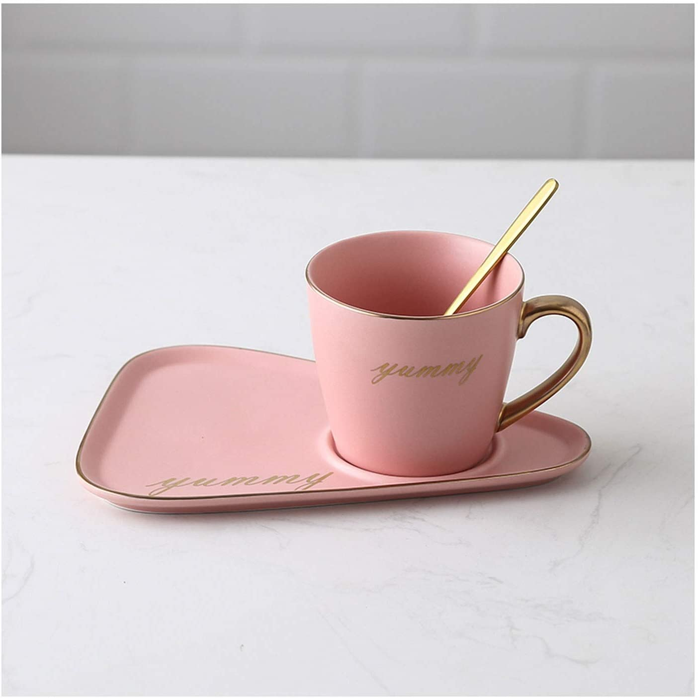 Matte Ceramic Coffee Cup Spoon and Oz 8.8 Tea Set All items in the store service C Tray