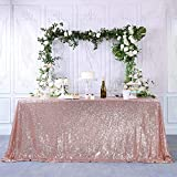 CIPAZEE Rose Gold Sequin Tablecloth - 50x85 Inch Rectangle Glitter Party Wedding Christmas Banquet Sparkle Table Cloth Sparkly Table Cover