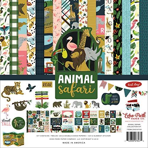 Echo Park Paper Company Animal Safari Collection - Juego de papeles para coleccionar, color verde, azul marino, azul, amarillo, rojo y rosa