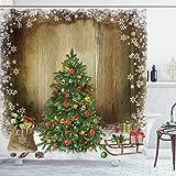 Weihnachten Duschvorhang Tannenbaum Schlitten