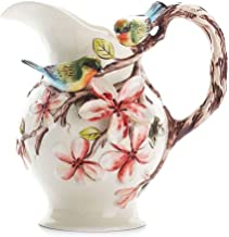 ZXL Flowers and Birds Embossed Ceramic Flower Vase Super Large Hydroponics Pitcher with Tree Branch Handle,Modern Pastoral Country Home Decor for Living Room Table Centerpiece or Wedding Gift Wh