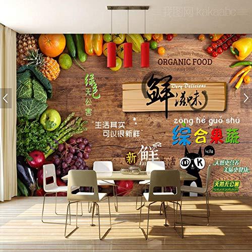 Negozio di frutta e verdura fresca Carta da parati Succo Insalata Frutta Pesca Carta da parati Supermercato Biologico Frutta Verdura Sfondo Murale-350Cmx245Cm