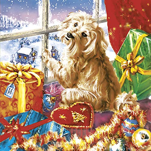 Maki servetten Napkins 33x33cm 20 stuks per verpakking. Servettechniek Kerstmis hond op het raam