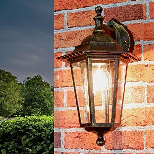 """Rústico pared lámpara exterior """"Paris"""" en Negro Rojo Antiguo / E27 Hasta 60w/IP44 resistente a la intemperie / de Aluminio & CRISTAL / nostálgico para Hof Terraza El jardín casa"""