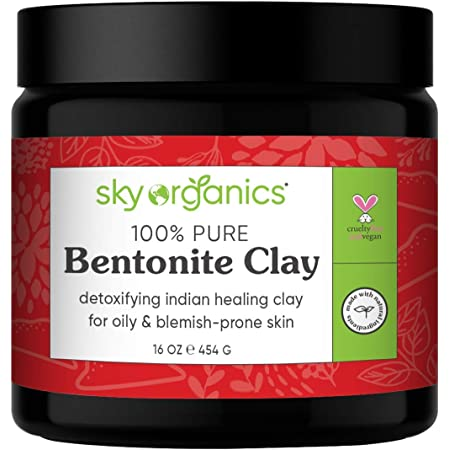 Bentonite Clay by Sky Organics (16 oz) 100% Pure Bentonite Clay Indian Healing Clay Face Mask for Oily Blemish-Prone Skin Pore Purifying Face Mask Detoxifying Face Mask for Blemishes