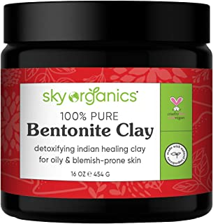 Bentonite Clay by Sky Organics (16 oz) 100% Pure Bentonite Clay Indian Healing Clay Face..
