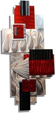 Statements2000 Silver, Red, & Black Geometric Abstract Wall Sculpture - Modern Metal Art - Contemporary Home Accent Decor