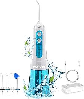 YOUNGDO Irrigador Bucal Portátil 300ML, Irrigador Dental Profesional IPX7 Impermeable USB Recargable, 4 Modos de Limpieza y 4 Boquillas Giratorias para Cuidado de Higiene Dental