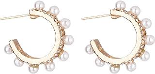 Gold White Pearls Bridal Hoop Earrings