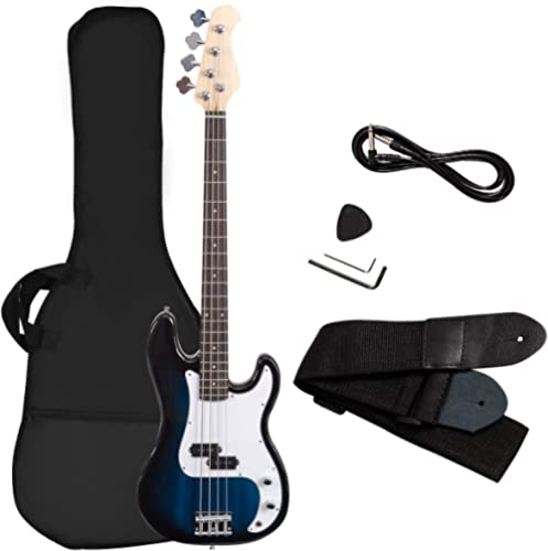 Goplus Electric Bass Guitar Full Size 4 String with Strap Guitar Bag Amp Cord (Blue Bass 4 Straps)