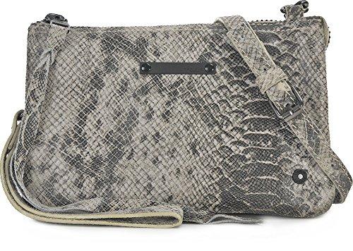 Tyoulip Sisters, Damen, Handtaschen, Umhängetaschen, Clutch, Unterarmtaschen, Schlangenoptik, Hellgrau, 20 x 13,5 x 2 cm (B x H x T)