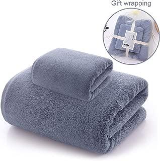 Danilaziya Bath Towels, Luxury Microfiber Bath Towel Set, 2 Piece - 1 Bath Towels, 1 Hand Towels, Coral Fleece Towel Gift Set, Space Gray
