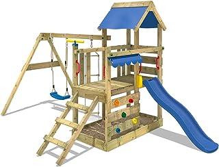 Wickey TurboFlyer - Parque infantil, Torre de escalada con muro de escalada cajón de arena columpio y escalera de cuerda, tobogán + lona, color Azul