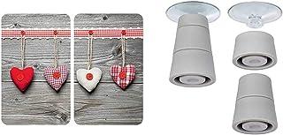 WENKO Plaque de protection en verre universel Coeurs - lot de 2, 30 x 52 cm, Multicolore & Pieds pour plaques de protectio...