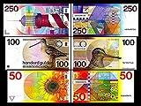 *** 50, 100, 250 niederländische Gulden - Ausgabe 1977 - 1985 - alte Währung - Reproduktion *** -
