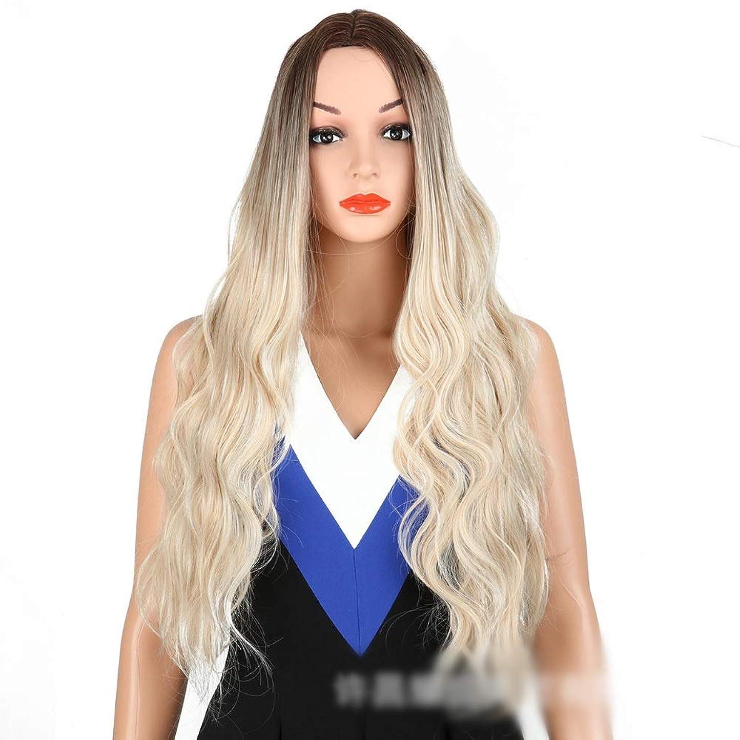 言語学エーカー忠実なWASAIO 女性のライトブロンドボディウェーブウィッグファッションロングカーリーヘアミドルパーツアクセサリー用スタイル交換ファイバー合成フリーキャップ付き (色 : Light blonde)