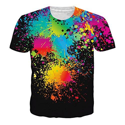 NEWISTAR Unisex Tshirts für Herren Damen 3D Coole Grafik Tee Shirts Beiläufig Party Bunte Fun T-Shirts L