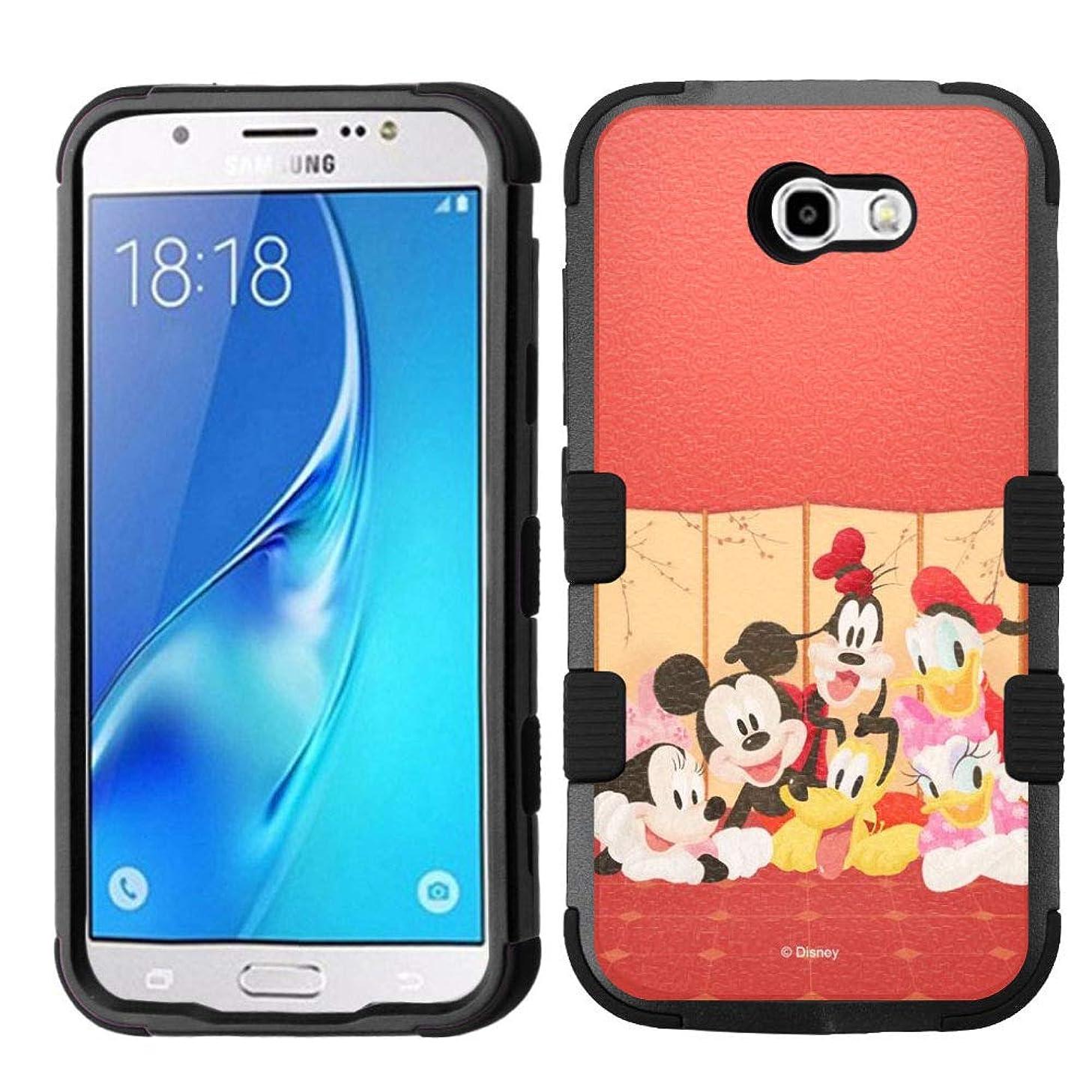 for Galaxy J7 Prime, J727 (2017), Galaxy J7 V, Galaxy J7 Perx, Galaxy J7 Sky Pro, Hard+Rubber Rugged Impact Cover Case - Mickey Minnie Mouse Goofy Doland Duck #R