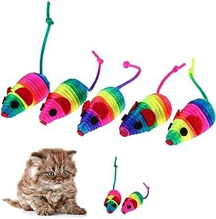 Bulrusely Giocattoli per gatti in peluche topi con erba gatta per giocare a masticare 6 colori adatti per animali domestici 12 topi pelosi sonagli piccoli topi gattini