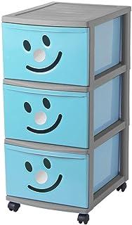 Sundis HAPPYTOWER 3 GM Bleu Argent Torre Diseño Infantil con 3 Cajón es con Cara Sonriente Y Ruedas Pivotantes Azul Tall...