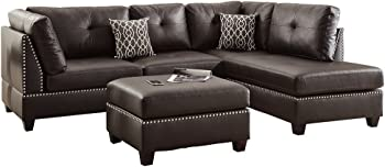 Poundex Bobkona Viola Faux Leather Left or Right Hand Chaise Sectional Set