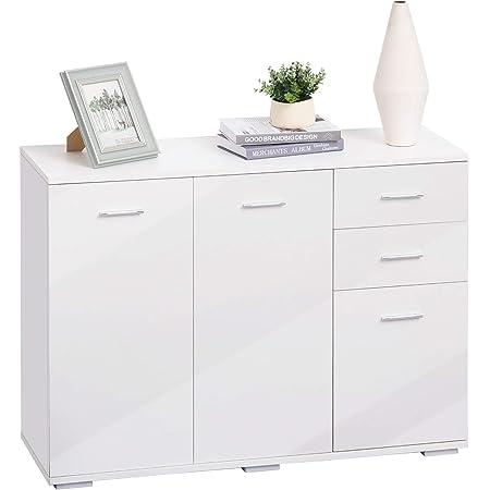 HOMCOM Modern High Gloss Side Cabinet Table Sideboard Chest of Drawer Bedroom Living Room Storage Furniture White