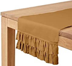 Vargottam Brown Home Décor Stylish Wedding Party Holiday Table Setting Décor Solid Double Frill Table Runner-14 x 72 Inch