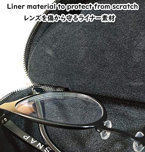 名古屋眼鏡メガネが2本収納できるメガネケースBKウレタンセミハード(ファスナー式吊り下げフック付き)2042-01