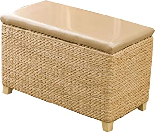 Retro storage box, Large capacity handmade rattan Sofa stool Shoe changing stool Storage pu wooden