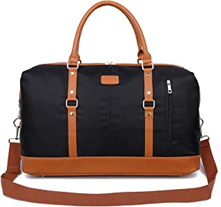 Weekend Duffel Bag Waterproof Nylon Overnight Travel Bag (Large Black)