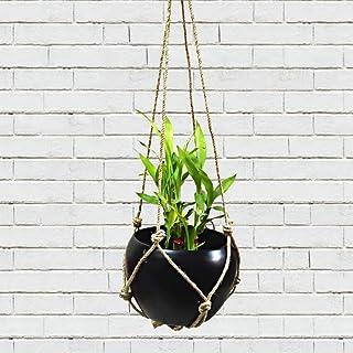 Home Indoor/Outdoor Galvanized Black Metal Balcony Hanging Planter with Jute Rope/String | Decorative Pot/Home Improvement...