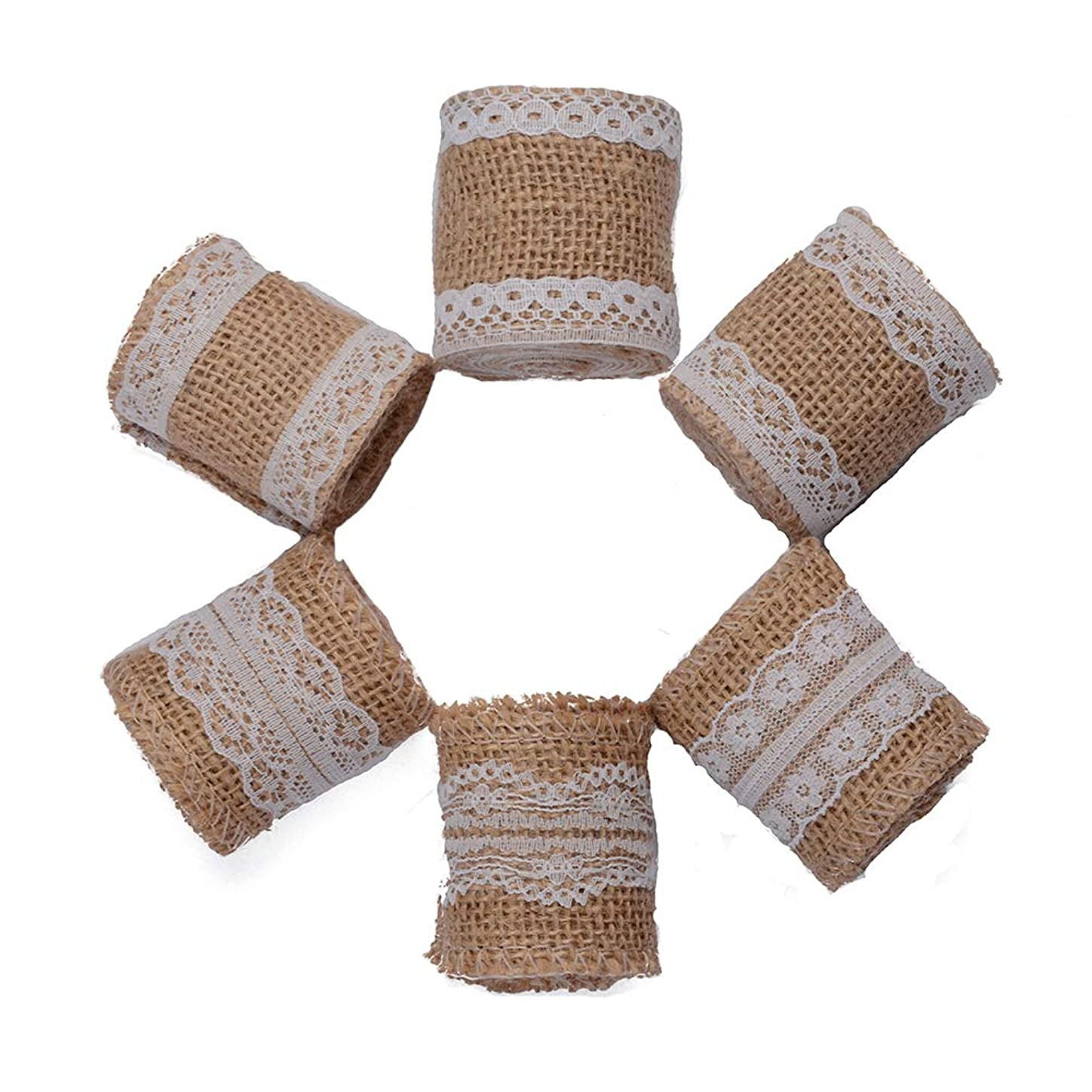 MUZOCT 6Pcs 3.28Feet/1M Natural Burlap Ribbon Roll with White Lace Trims for DIY Handmade Crafts Wedding Decorations kswfyht571294