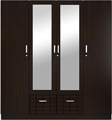 GODREJ INTERIO Particle Board Wardrobe Black,4 door